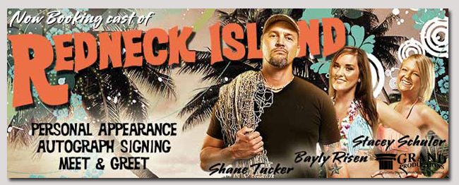 book a celebrity redneck island event